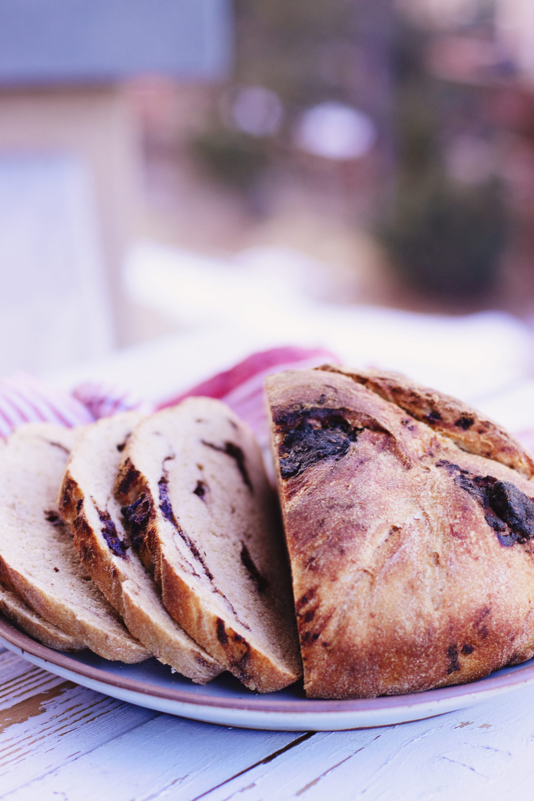 sliced chocolate chunk sourdough bread