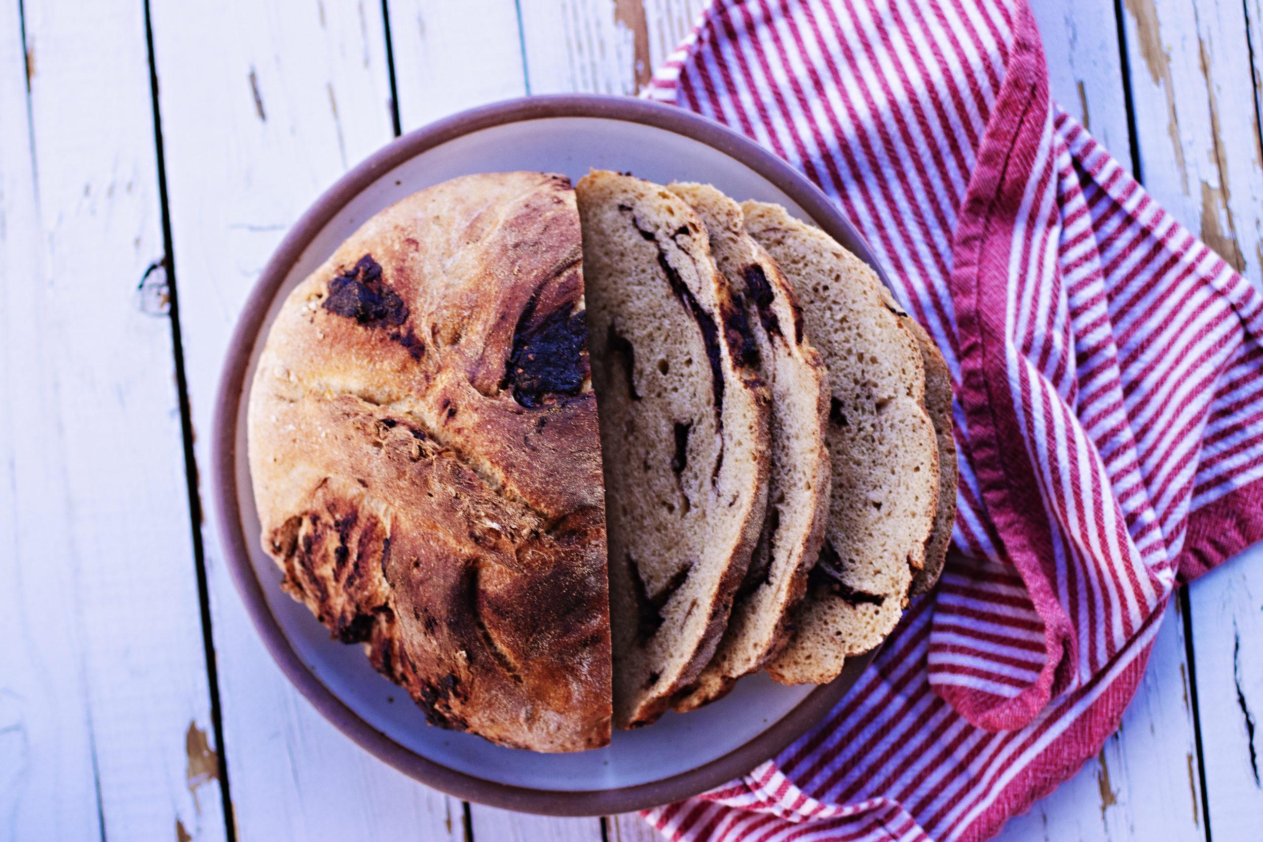 homemade chocolate chunk sourdough bread